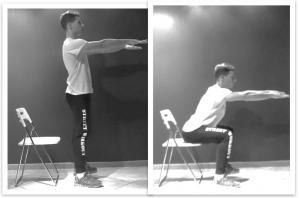squat su sedia per mal di schiena