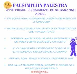 falsi miti in palestra