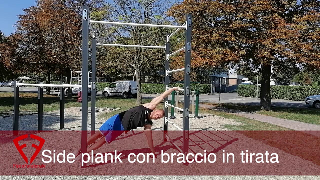 side plank con braccio in tirata